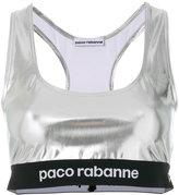 Paco Rabanne logo print high shine cropped top