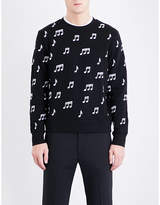 Sandro Musical note-embroidered cotton-jersey sweatshirt