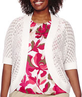 Liz Claiborne Elbow-Sleeve Crochet Shrug - Plus