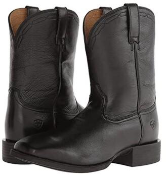 Ariat Heritage Roper Wide Square Toe (Black Deertan) Cowboy Boots
