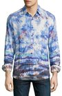 robert graham the tribe allover printed sport shirt sapphire