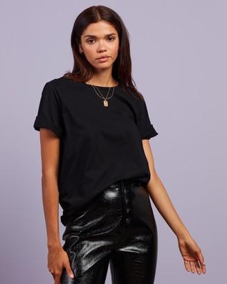 Dazie - Women's Black Basic T-Shirts - TGIF Cotton BF Tee - Size 6 at The Iconic