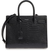 Saint Laurent Sac De Jour Croc Embossed Calfskin Leather Tote - Grey