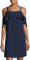 Maggy London Ruffled Cold-Shoulder Crepe Shift Dress