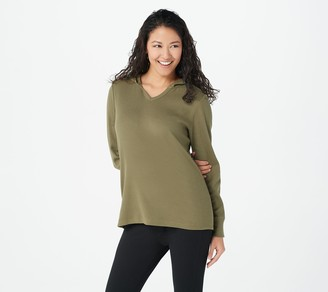 Denim & Co. Active Waffle Long-Sleeve V-Neck Top with Hood