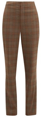 Tibi James Checked Tapered Trousers - Womens - Brown