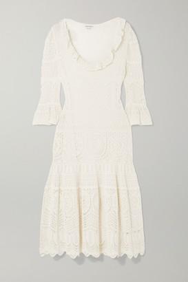 Alexander McQueen Ruffled Crocheted Cotton-blend Midi Dress - Ivory