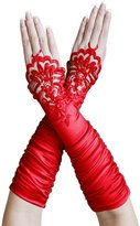 ZaZa Bridal Gathe Satin Fingerless Gloves w/ Floral Embroidery Lace & Sequins