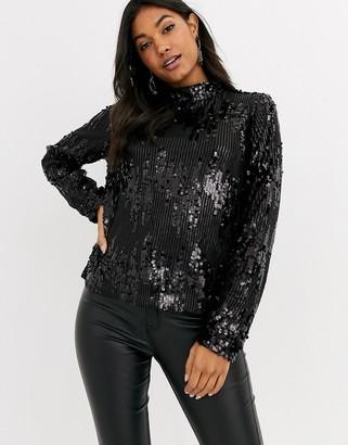 Vila top with high neck in black sequins