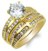 JamesJenny Duo Ladies Yellow Gold Plated Round CZ Cross Engagement Ring Set Size 4