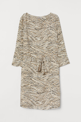 H&M Dress with Tie Belt - Beige