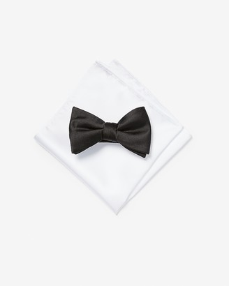 Express Solid Bow Tie & Pocket Square Gift Set