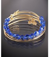 set of 4 - gold and sapphire beaded expandable wire bangles