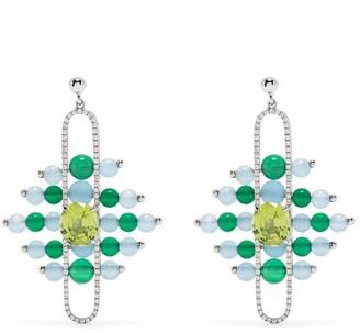 ZEEMOU ZENG 18kt white gold diamond pave Impressionists Dangle earrings