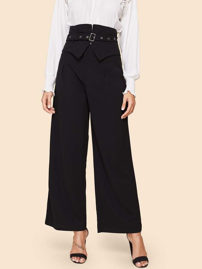 80s High Waist Solid Wide Leg Pants