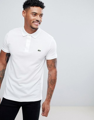 Lacoste slim fit pique polo in white