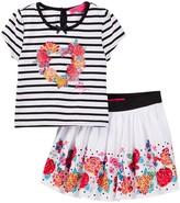 Betsey Johnson Striped Top & Floral Border Print Skirt Set (Toddler Girls)