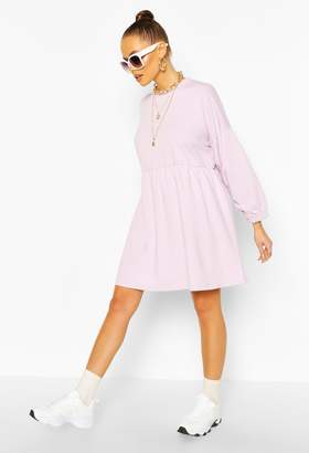 boohoo Ruched Sleeve Oversized Sweatshirt Dress