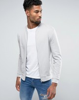 Asos Jersey Bomber Jacket In Gray