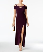 Night Way Nightway Cold-Shoulder Keyhole Gown