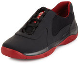 Prada Punta Ala Leather Sneaker, Black/Red