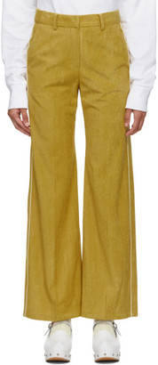 Sjyp Yellow Corduroy Piping Trousers