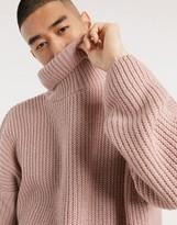 Asos Design DESIGN oversized funnel neck sweater in brushed pink