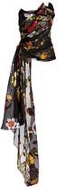 Oscar de la Renta Floral Strapless Ruche Drape Silk Chiffon Blouse