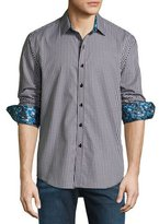 Robert Graham Sputnik 3D-Check Jacquard Sport Shirt, Black