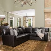 Christopher Knight Home Violet Dark Brown Leather Sectional Couch