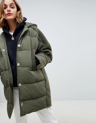 ASOS DESIGN borg paneled padded jacket