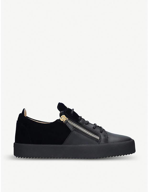 Giuseppe Zanotti Leather and velvet trainers