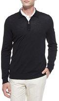 Salvatore Ferragamo 1/4-Zip Long-Sleeve Polo Sweater, Black