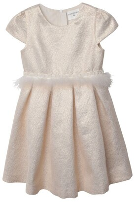 Charabia Metallic Feather-Trim Dress (3-12 Years)