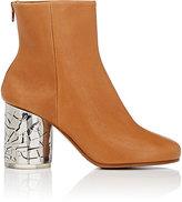 Maison Margiela Women's Metal-Heel Leather Ankle Boots-TAN