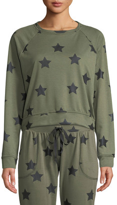 Terez Star-Print Crewneck Pullover Sweatshirt