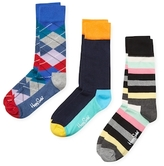 Happy Socks Argyle, Colorblock and Stripes Socks (3 PK)