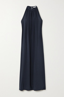 Bella Freud Edie Gathered Silk Maxi Dress - Navy