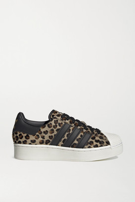 adidas Atmos Superstar Bold Leather-trimmed Leopard-print Calf Hair Platform Sneakers