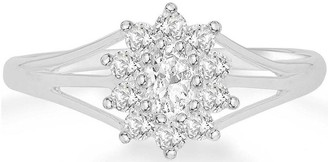 9ct White Gold Cubic Zirconia Flower Cluster Ring