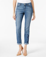 Style&Co. Style & Co Embroidered Cuffed-Leg Jeans, Only at Macy's