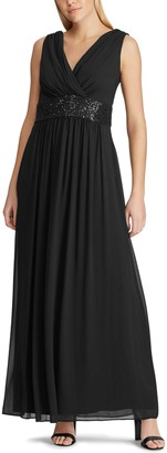 Chaps Women's Embellished Pleated Evening Dress