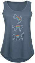 Instant Message Plus Women's Tank Tops HEATHER - Heather Blue Rainbow Cat Tank - Plus