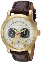 Adee Kaye Men's Automatic Stainless Steel and Leather Dress Watch, Color:Brown (Model: AK8871-GSV)