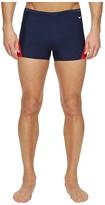 Nike Surge Color Block Poly Square Leg Brief (Red/Navy) Men's Swimwear