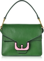 Coccinelle Ambrine Graphic Imperial Green Leather Satchel Bag