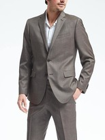 Banana Republic Slim Brown Windowpane Wool Suit Jacket