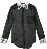 Thom Browne Long Sleeve Button Down With French Cuffs & Wallpaper Floral Emboidery In Black Double Organza