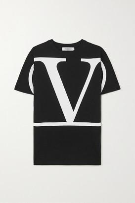 Valentino Oversized Printed Cotton-jersey T-shirt - Black