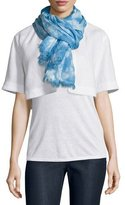 Lafayette 148 New York Marbleized Hues Flax Scarf, Ice Water/Multi